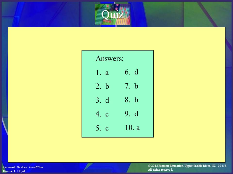 Quiz Answers: 1. a 2. b 3. d 4. c 5. c 6. d 7. b 8. b 9. d 10. a