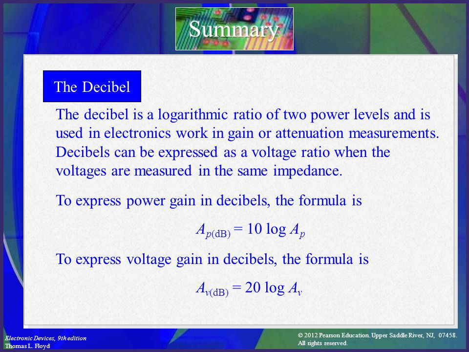 Summary The Decibel.