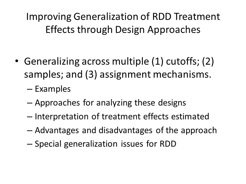 Improving Generalization of RDD Treatment Effects through Design Approaches