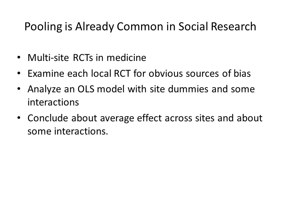 Pooling is Already Common in Social Research