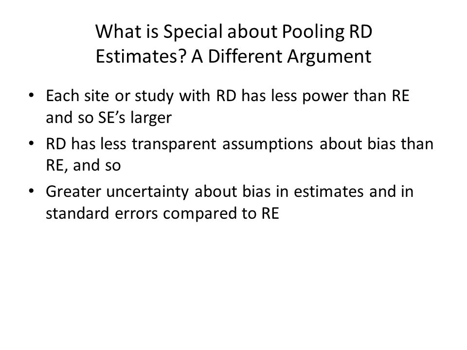 What is Special about Pooling RD Estimates A Different Argument