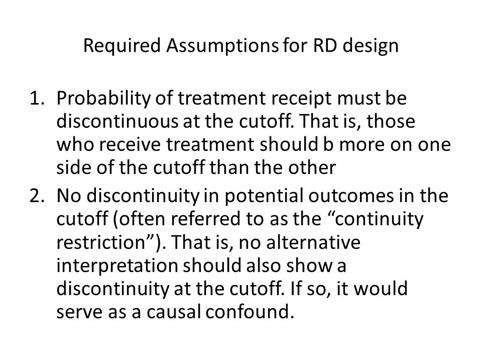 Required Assumptions for RD design