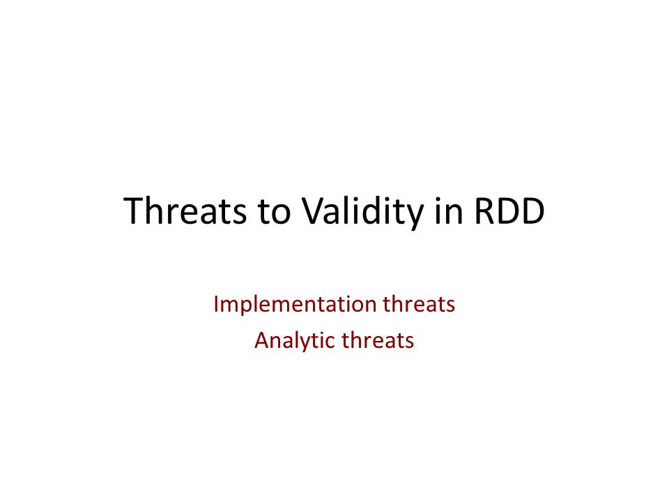 Threats to Validity in RDD