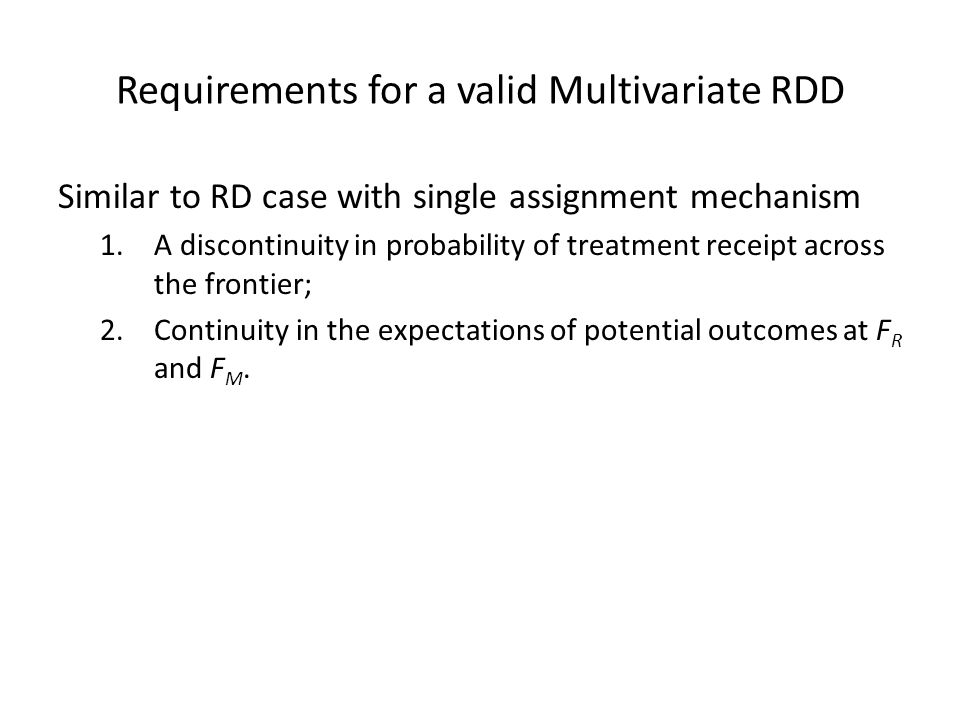 Requirements for a valid Multivariate RDD