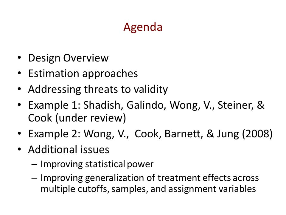 Agenda Design Overview Estimation approaches
