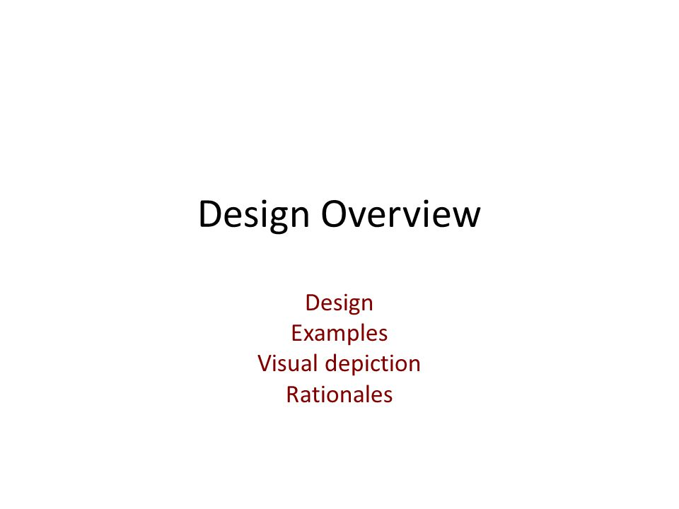 Design Examples Visual depiction Rationales
