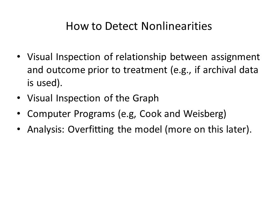 How to Detect Nonlinearities
