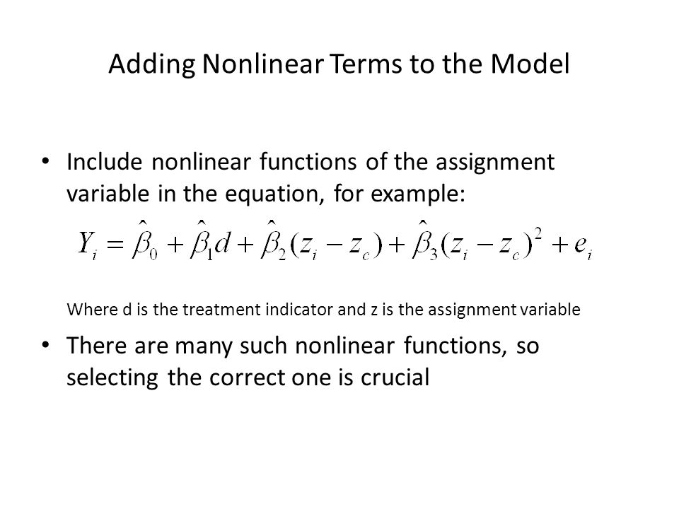 Adding Nonlinear Terms to the Model