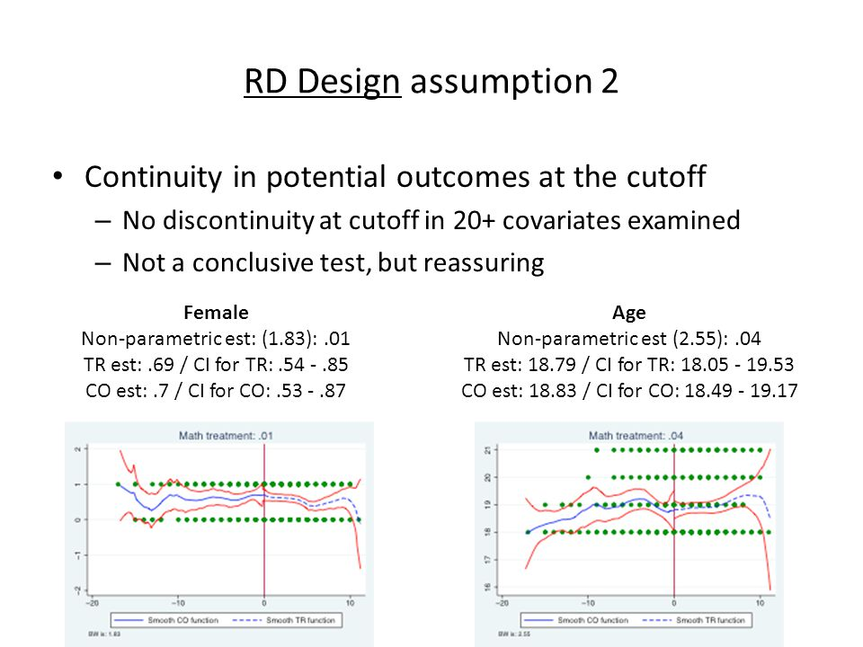 RD Design assumption 2 Continuity in potential outcomes at the cutoff