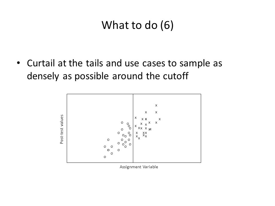 What to do (6) Curtail at the tails and use cases to sample as densely as possible around the cutoff.