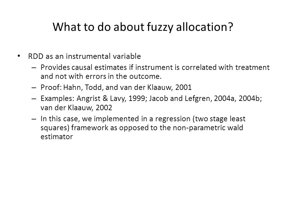 What to do about fuzzy allocation