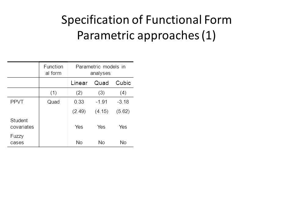 Specification of Functional Form Parametric approaches (1)
