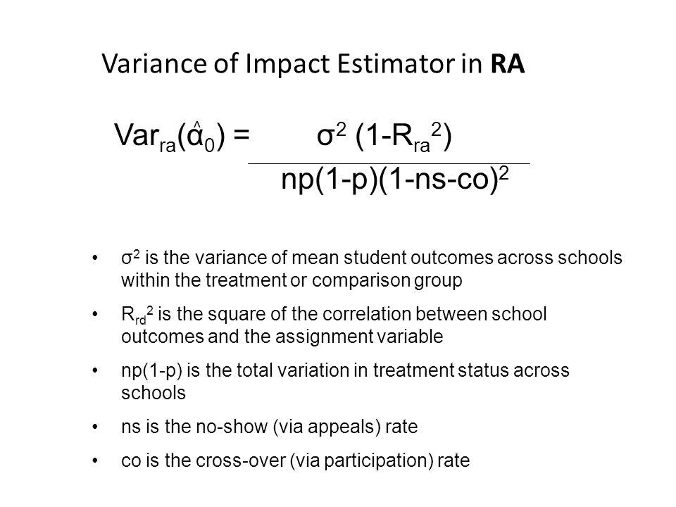 Variance of Impact Estimator in RA