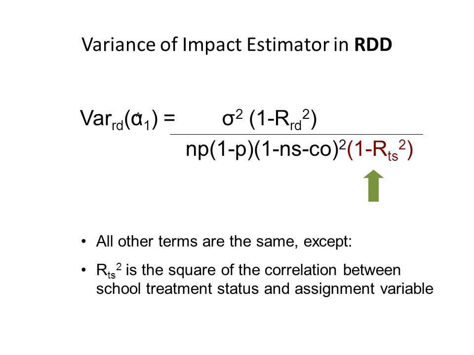 Variance of Impact Estimator in RDD