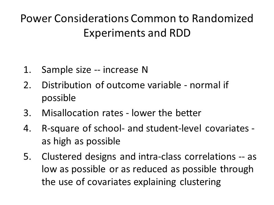 Power Considerations Common to Randomized Experiments and RDD