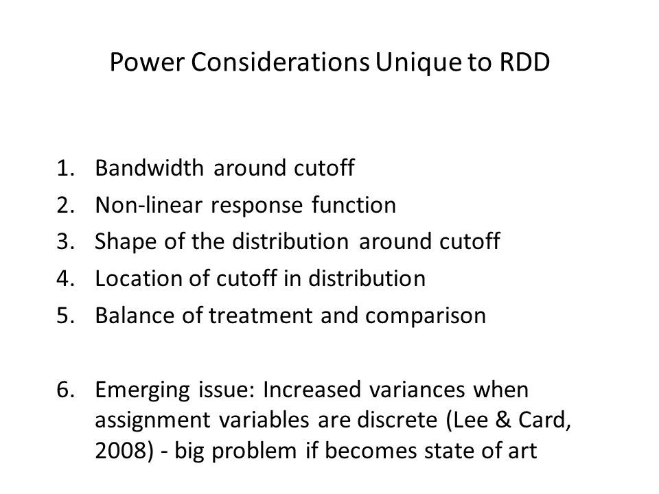 Power Considerations Unique to RDD