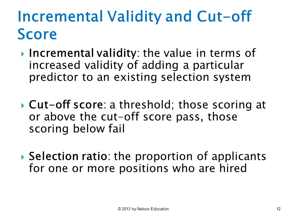 Incremental Validity and Cut-off Score