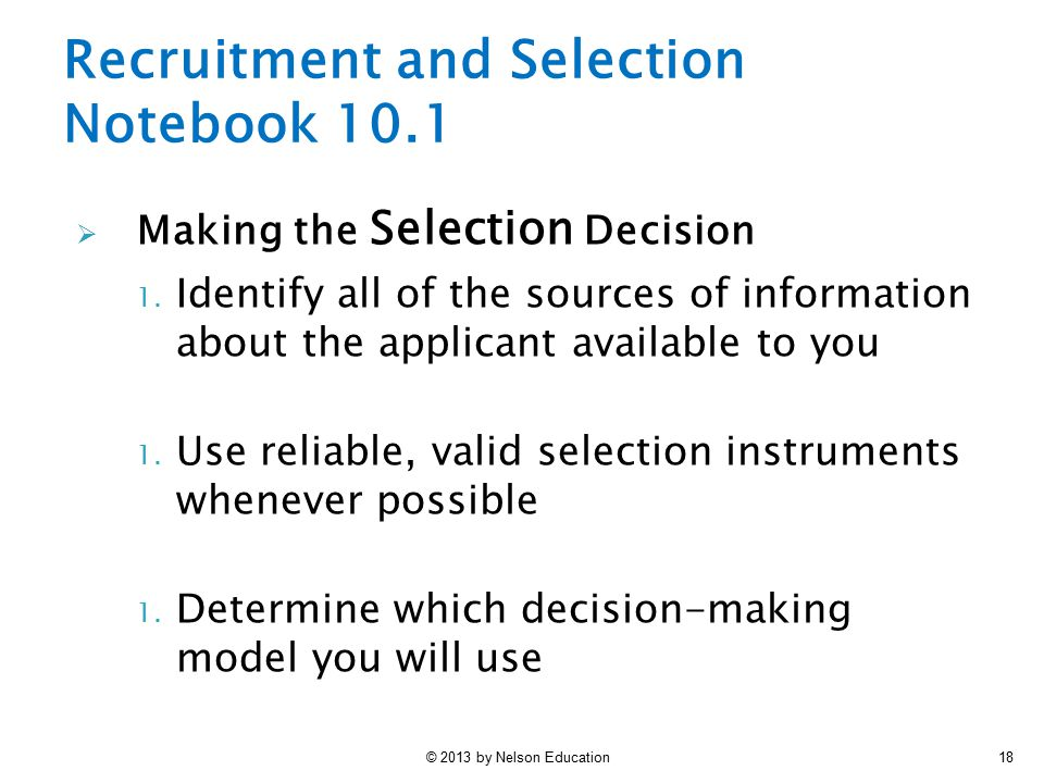 Recruitment and Selection Notebook 10.1