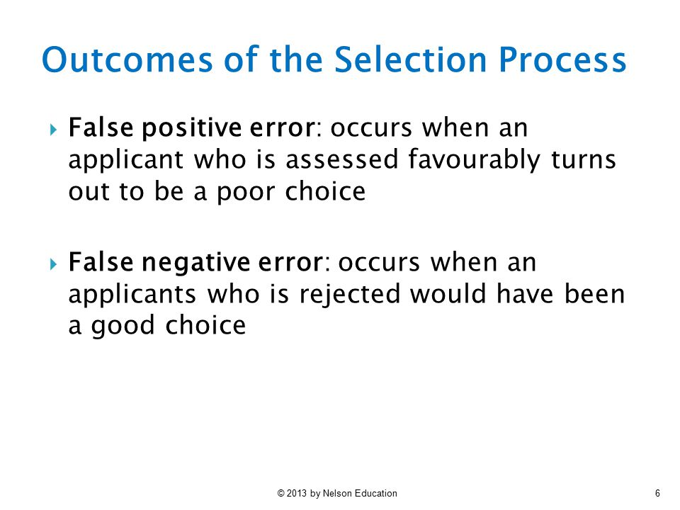 Outcomes of the Selection Process