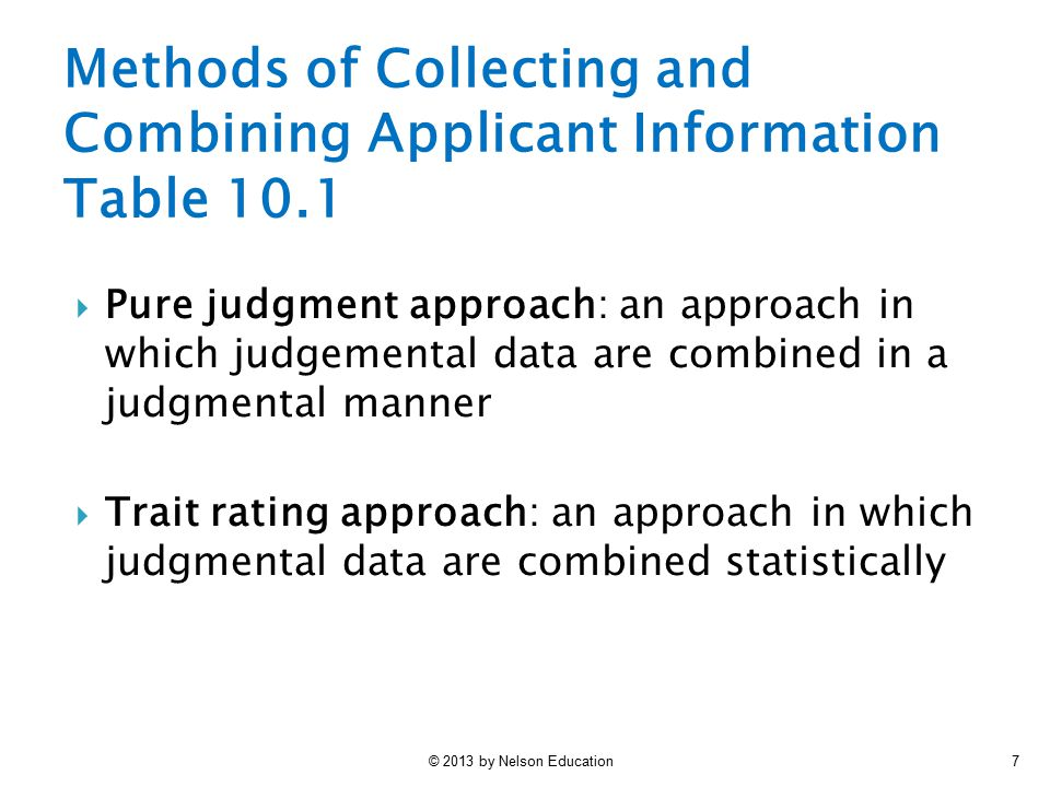 Methods of Collecting and Combining Applicant Information Table 10.1
