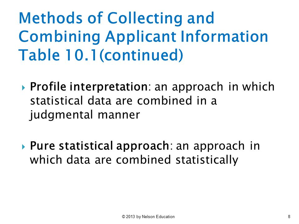 Methods of Collecting and Combining Applicant Information Table 10