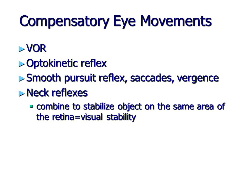 Compensatory Eye Movements