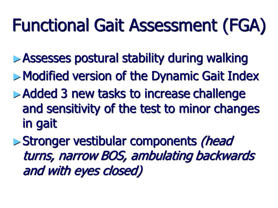 Functional Gait Assessment (FGA)
