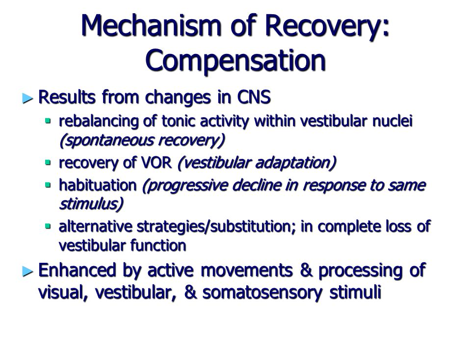 Mechanism of Recovery: Compensation