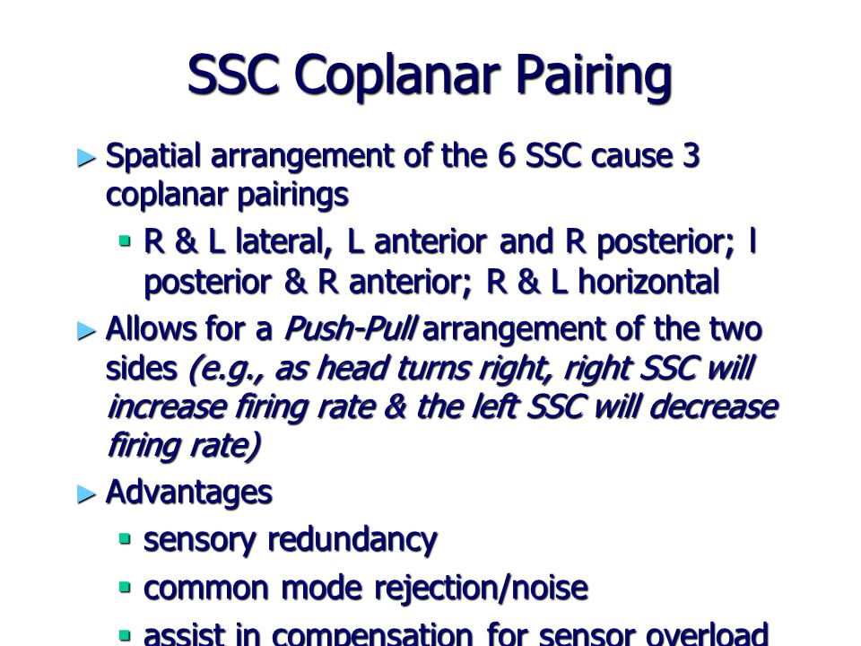 SSC Coplanar Pairing Spatial arrangement of the 6 SSC cause 3 coplanar pairings.