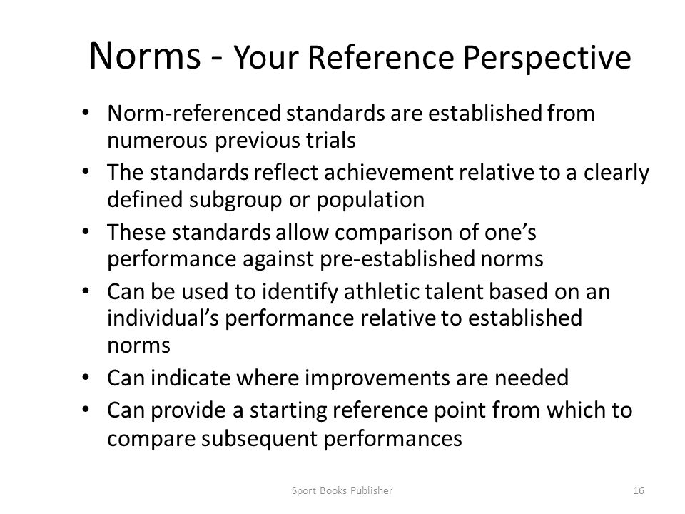 Norms - Your Reference Perspective