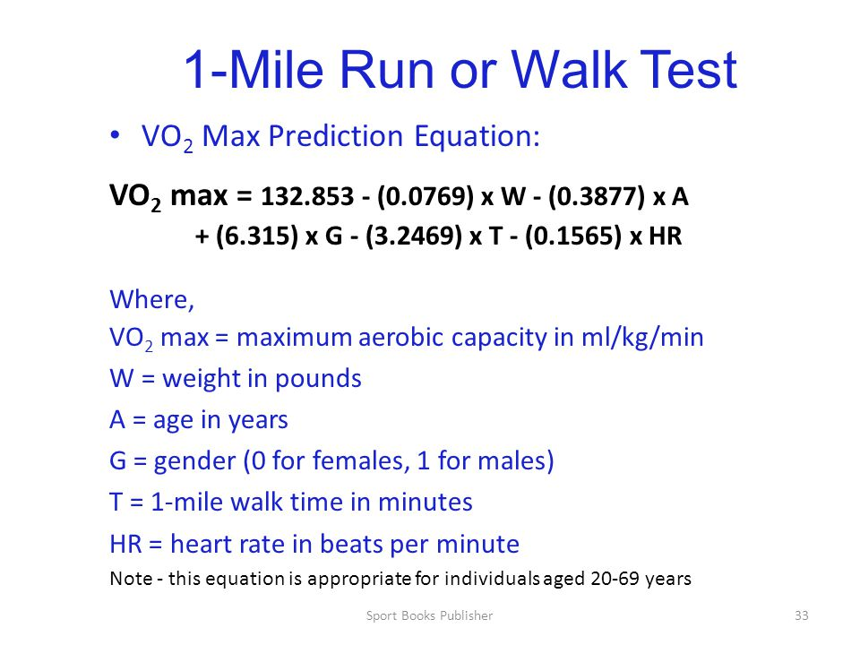 1-Mile Run or Walk Test VO2 Max Prediction Equation:
