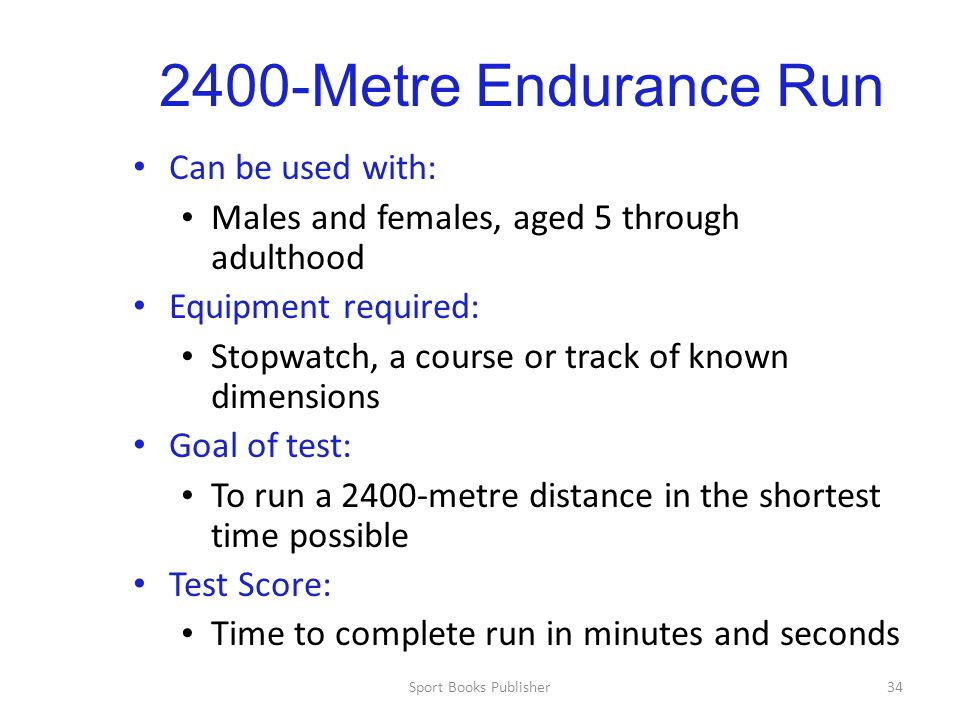 2400-Metre Endurance Run Can be used with: