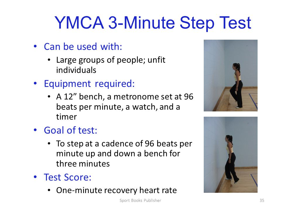 YMCA 3-Minute Step Test Can be used with: Equipment required: