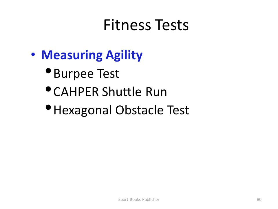 Fitness Tests Measuring Agility Burpee Test CAHPER Shuttle Run