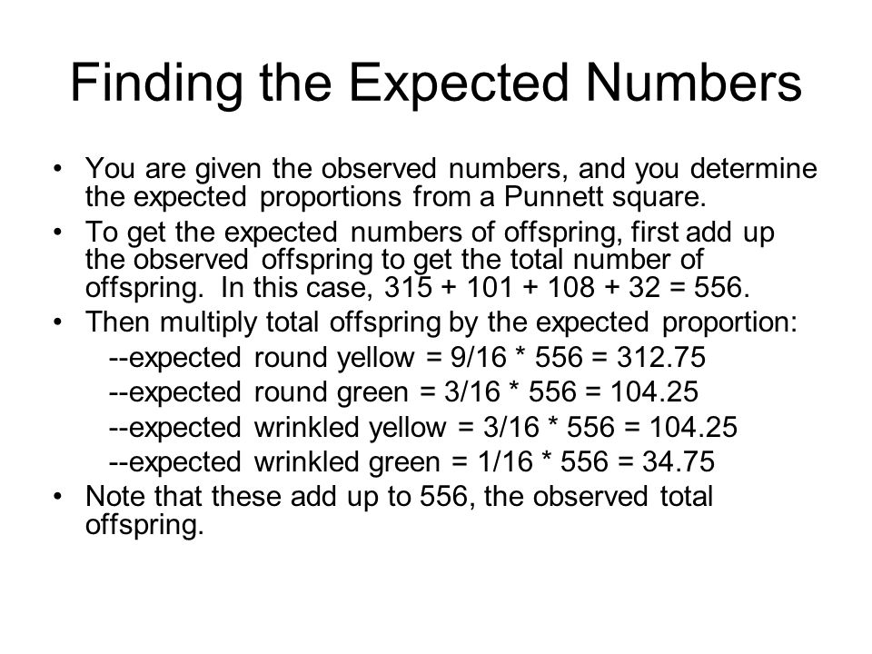 Finding the Expected Numbers