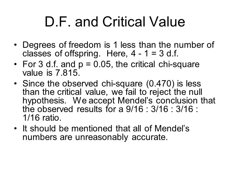 D.F. and Critical Value Degrees of freedom is 1 less than the number of classes of offspring. Here, 4 - 1 = 3 d.f.
