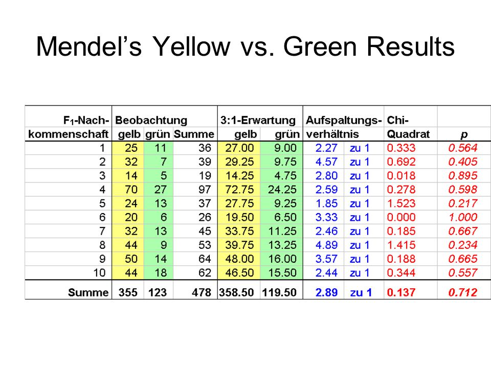 Mendel's Yellow vs. Green Results