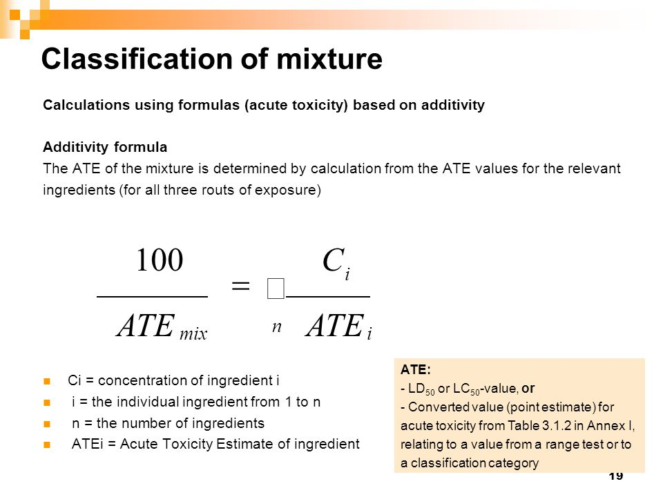 Classification of mixture