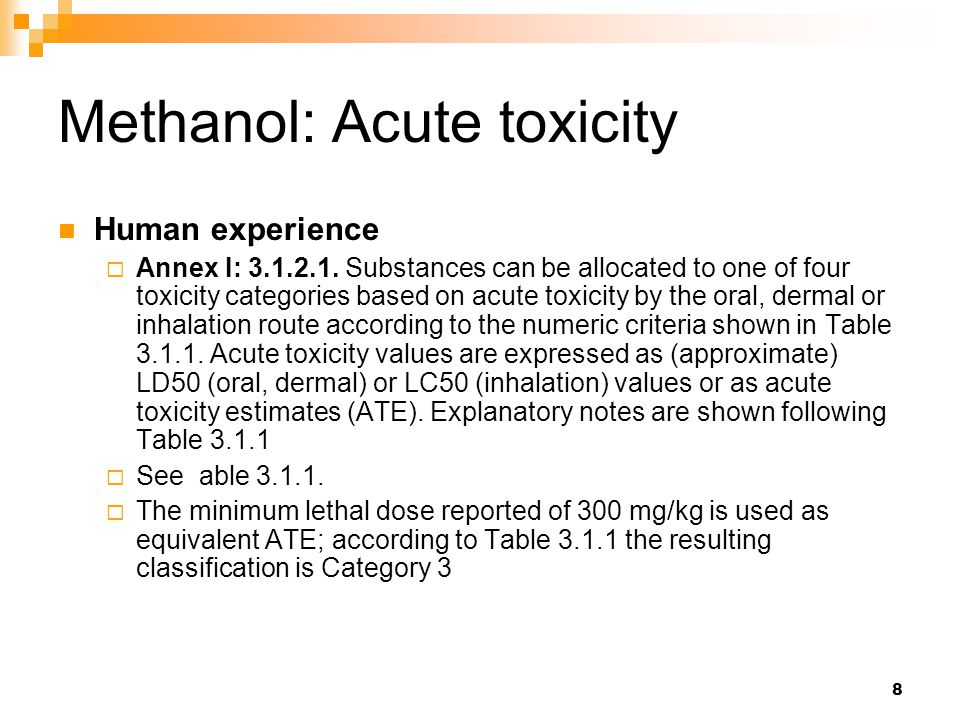 Methanol: Acute toxicity