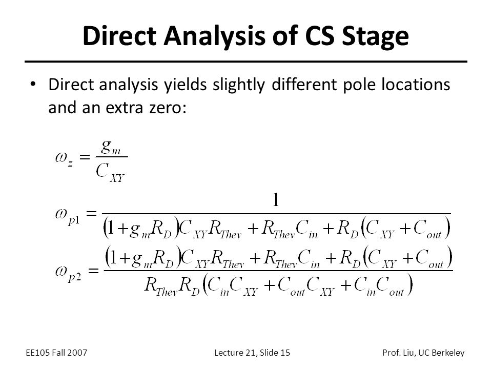 Direct Analysis of CS Stage