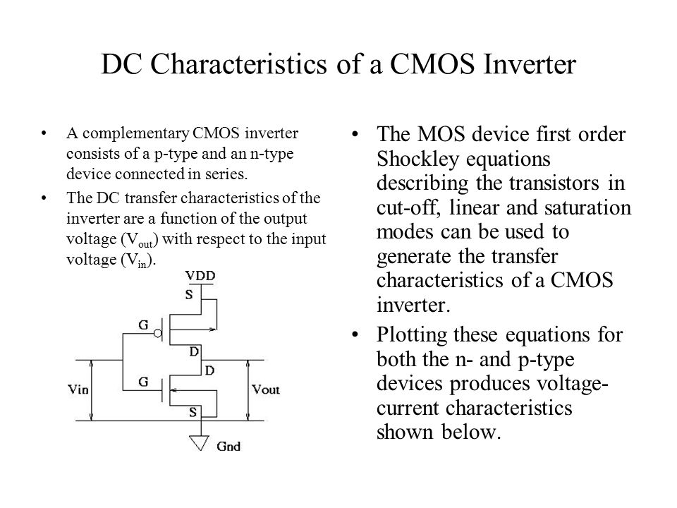 DC Characteristics of a CMOS Inverter