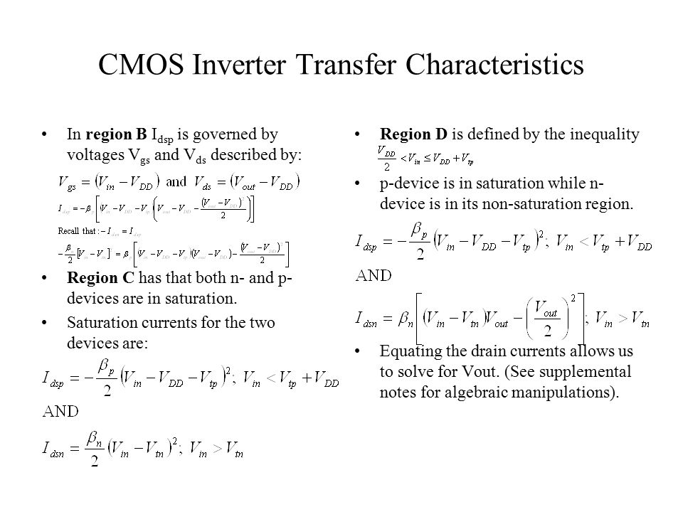 CMOS Inverter Transfer Characteristics