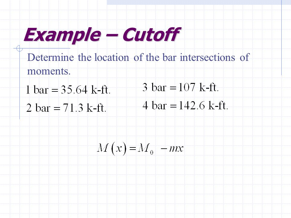 Example – Cutoff Determine the location of the bar intersections of moments.