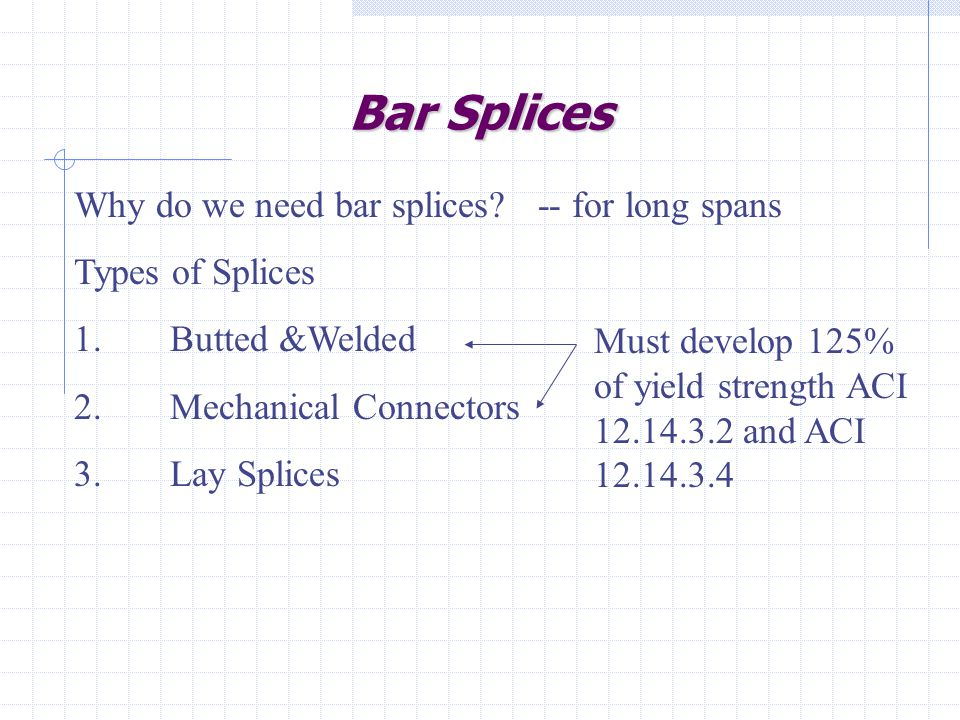 Bar Splices Why do we need bar splices -- for long spans
