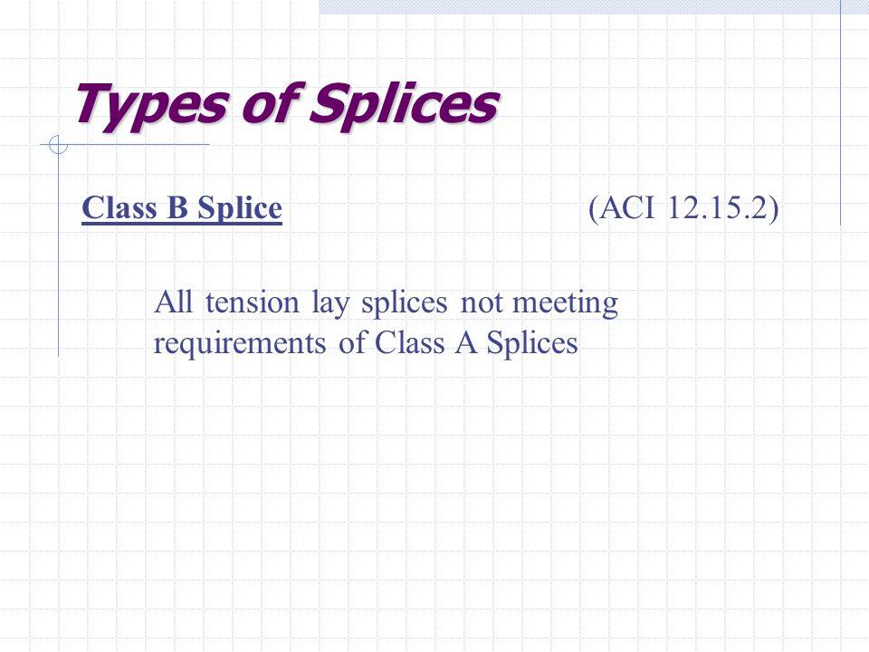 Types of Splices Class B Splice (ACI 12.15.2)