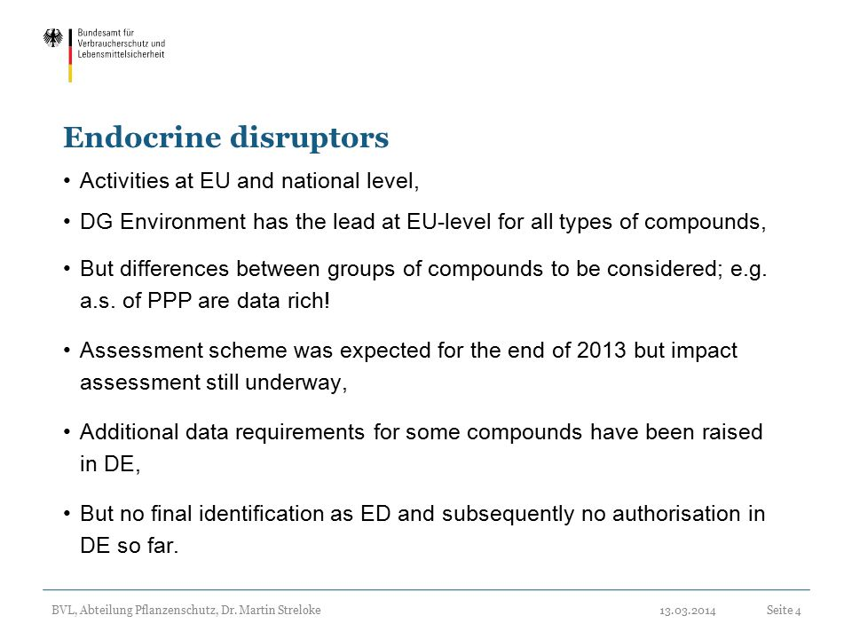 Endocrine disruptors Activities at EU and national level,