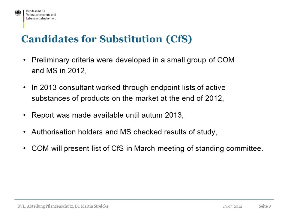 Candidates for Substitution (CfS)