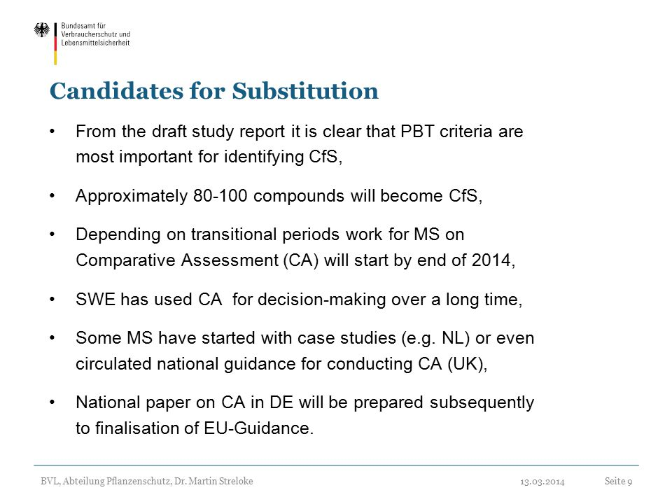 Candidates for Substitution