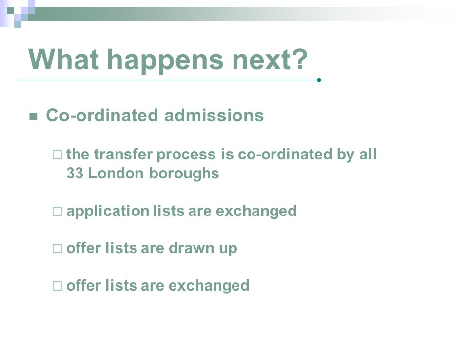 What happens next Co-ordinated admissions