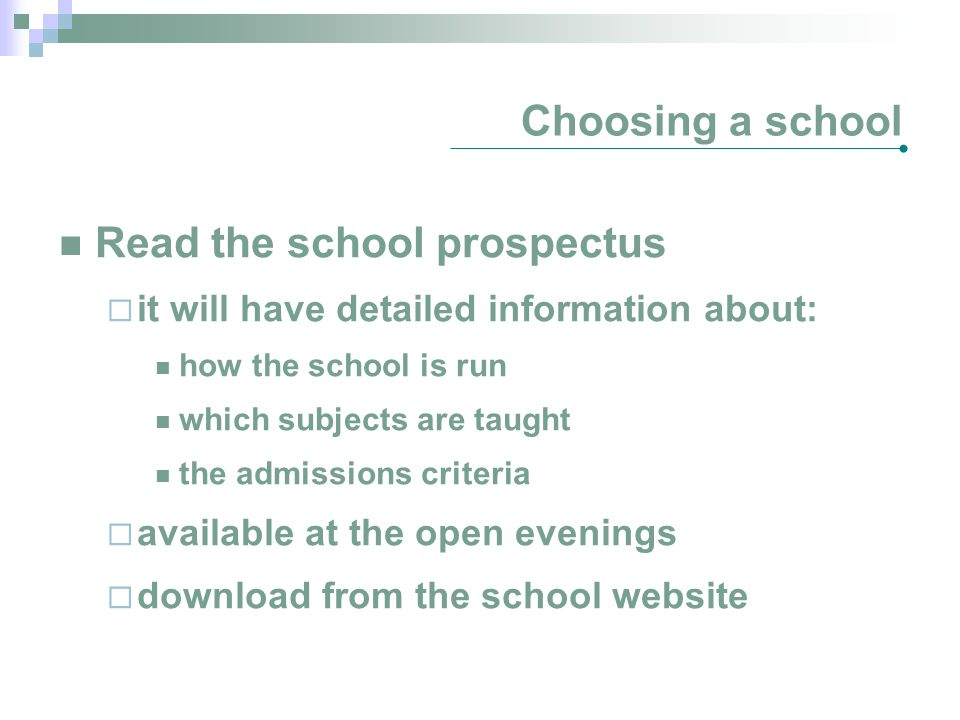 Read the school prospectus
